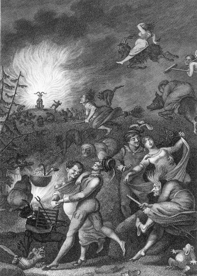 Гравюра 'Вальпургиева ночь' Вильгельма Юрия по Иоганну Генриху Рамбергу, сцена из Фауста (И. В. Гёте), 1829 г. (картинка вальпургиева ночь)
