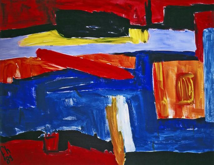 Пример абстрактного экспрессионизма — 'Зимний пейзаж', художник Фонс Хейнсбрук, 1989 г.