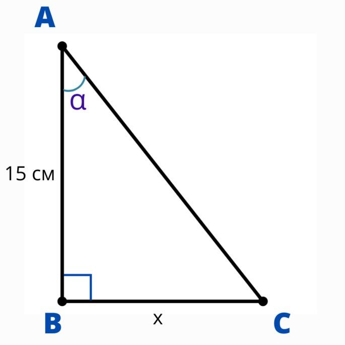 прямоугольный треугольник ABC с углом α в вершине A, BC = x, AB = 15 см