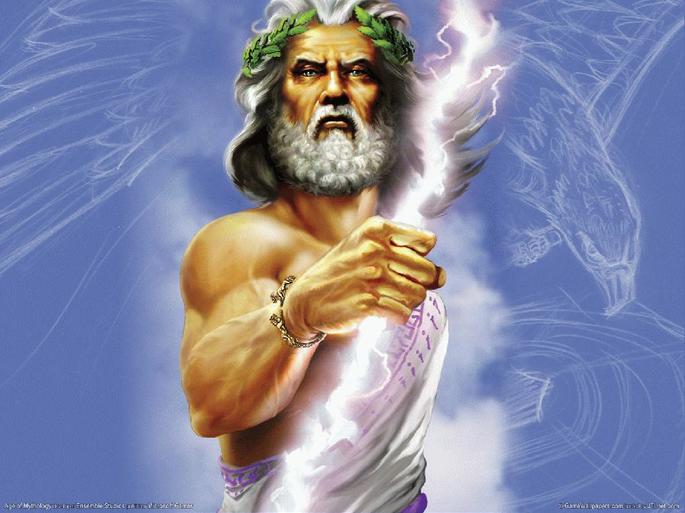 Изображение Зевса 'Греческий бог Зевс с молнией в небе'